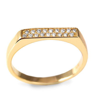 flat top gold ring 18 diamonds