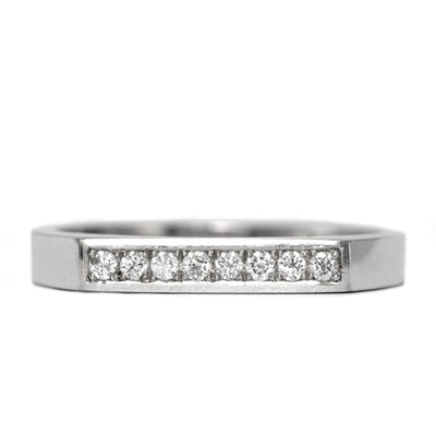 white gold ring flat top white diamonds