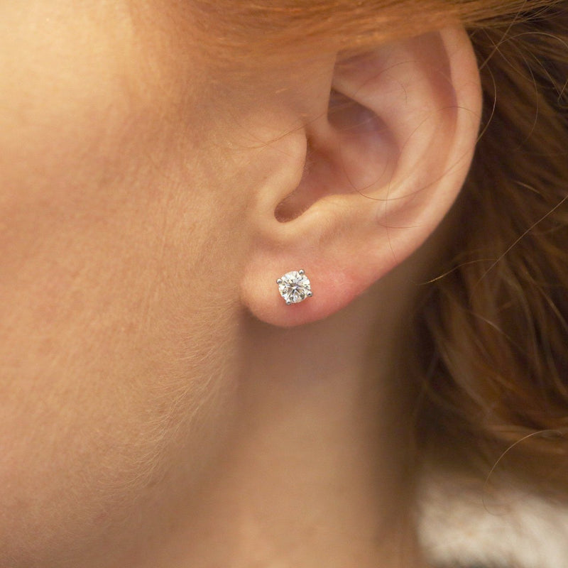 5 mm white diamond earrings