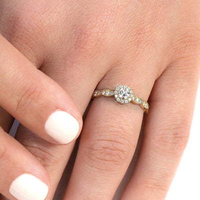 classic halo ring with curved band