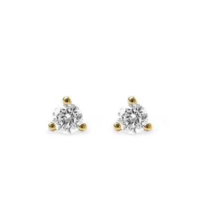 white diamonds 3 prongs yellow gold stud earrings