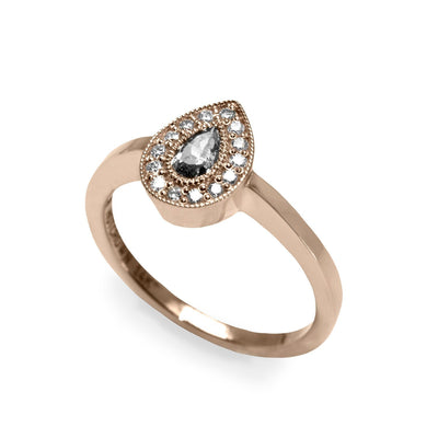 rose gold gray diamond ring