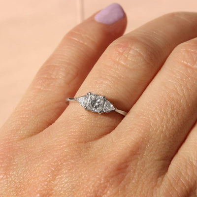 engagement ring with peincess cut diamond