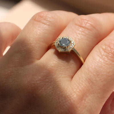 hexagon shaped ring with aquamarine