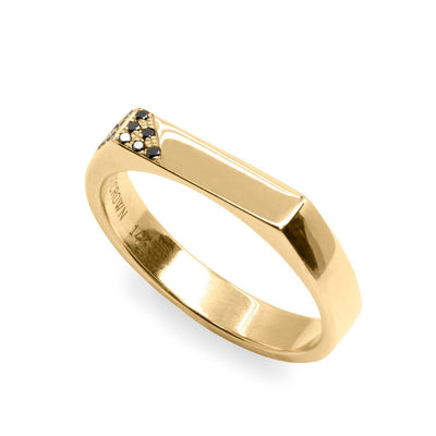 gold ring 12 black diamonds set in a triangle