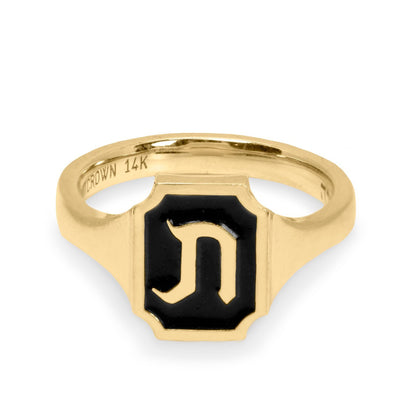 signet enamel ring hebrew letter