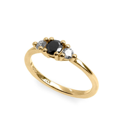 triple stone gold engagement ring