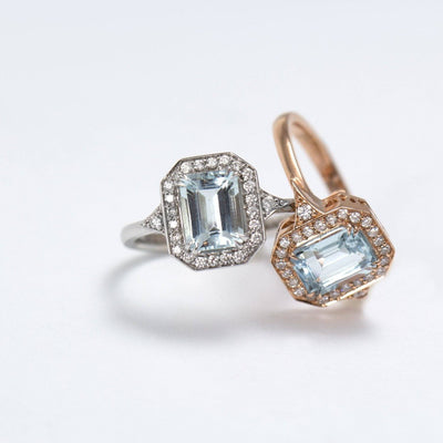 white gold ring with aquamarine and 28 diamonds