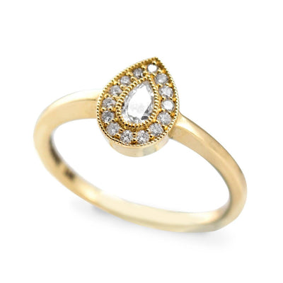 halo ring with pear shaped diamond