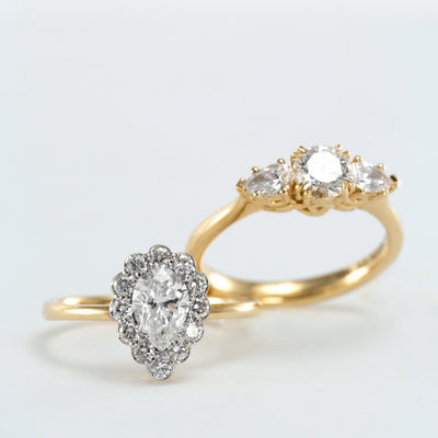 gold ring with pear shaped diamond