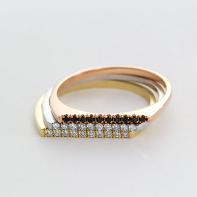 yellow gold thin ring with black diamonds