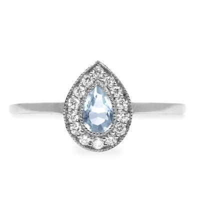 aqumarine engagemnet ring with diamonds