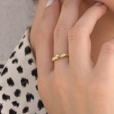 five diamonds gold engagement ring