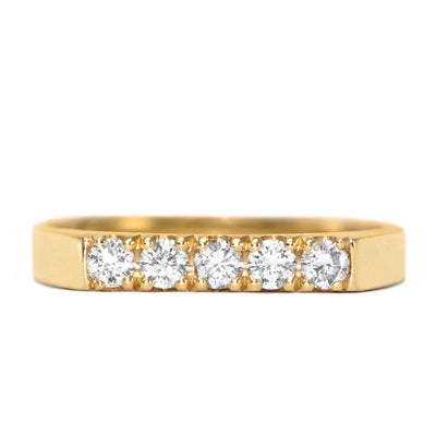 5 diamonds gold ring