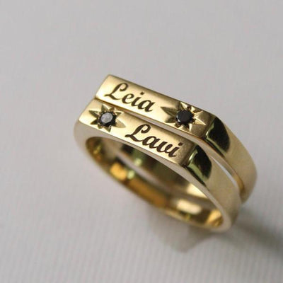 personalised gold ring with black diamond