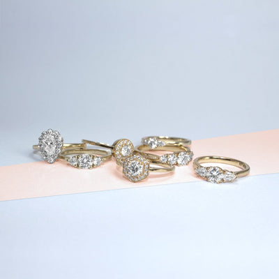 white diamonds halo vintage ring