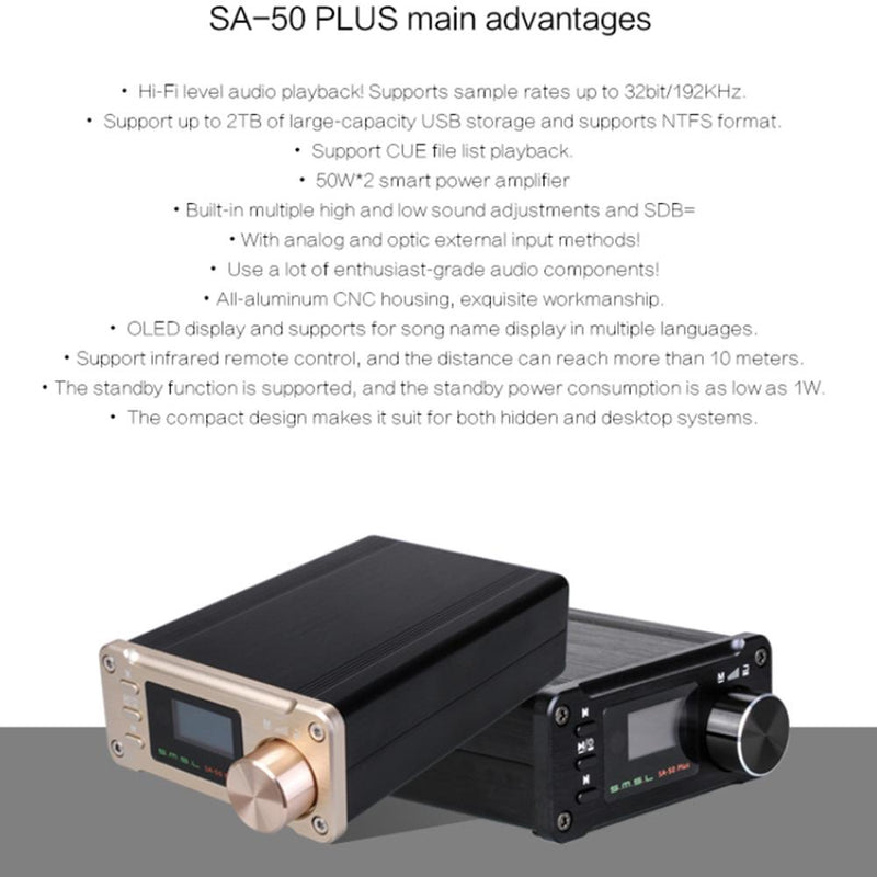 SMSL SA-50plus MicroSD/USB/Optical/AUX 32bit / 192 kHz 50W Digital Amplifiers