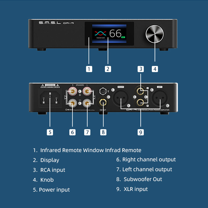 SMSL DA-9 NJW1194 Hi-Res Desktop High Performance Digital Power Amplifier support RCA/XLR/BT input 90W*2 Bluetooth 5.0 APT-X