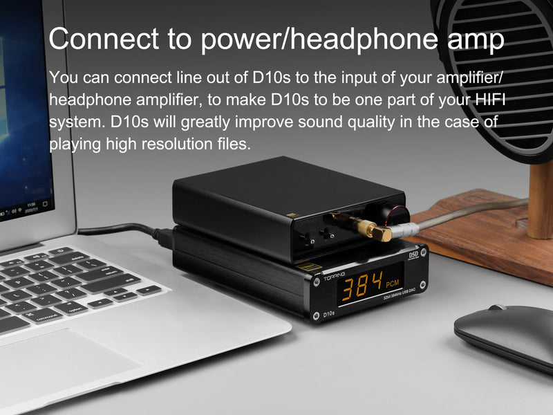 TOPPING D10S MINI USB DAC CSS XMOS XU208 ES9038Q2M OPA2134 DSD 256 PCM 384 Audio Amplifier Decoder