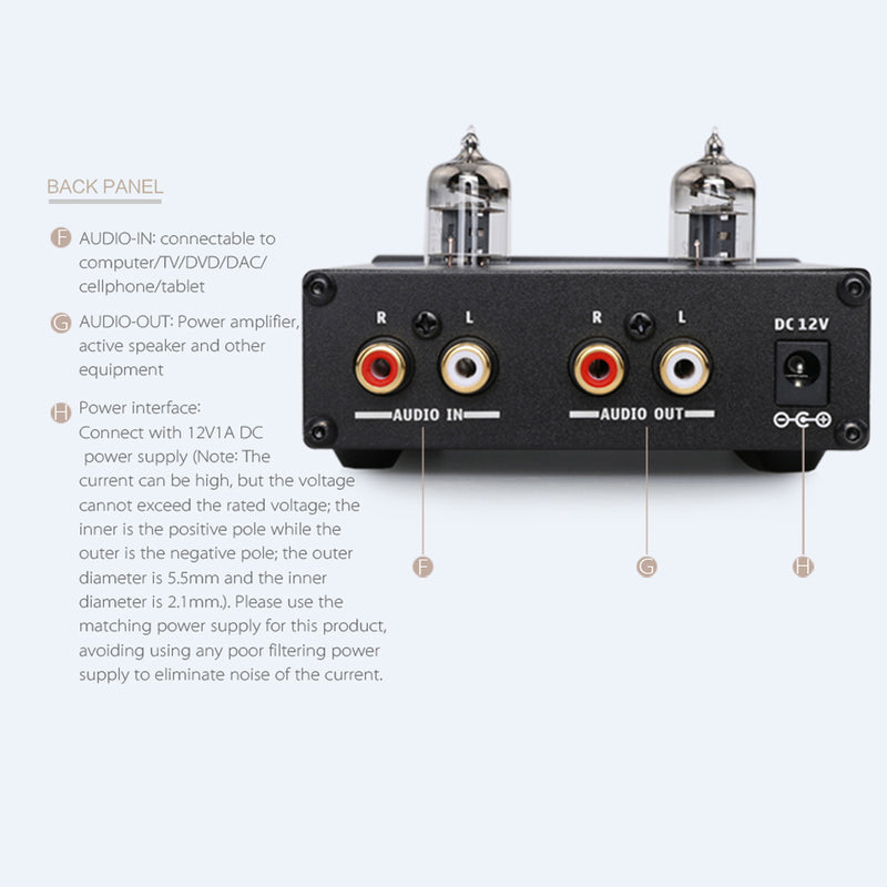 KGUSS T3 MINI Bile 6J1 Preamp Tube Amplifier Buffer HIFI Audio Preamplifier Treble Bass Adjustment