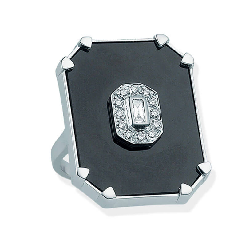 DEEP SPACE ONYX RECTANGLE DIAMOND RING