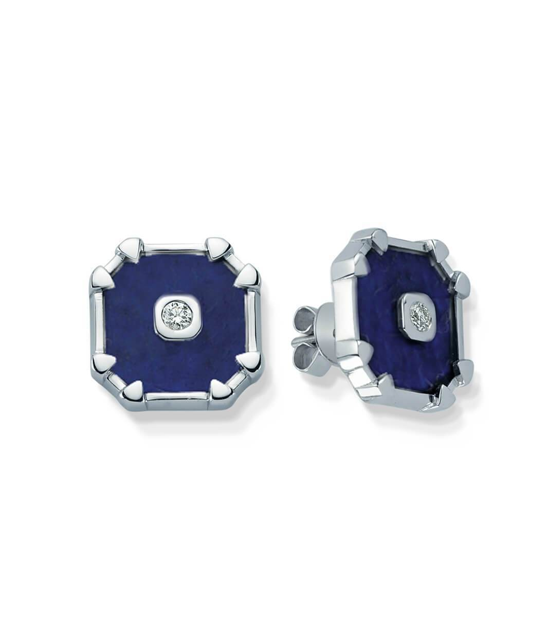 DEEPSEA LAPIS LAZULI DIAMOND SQUARE EARRINGS