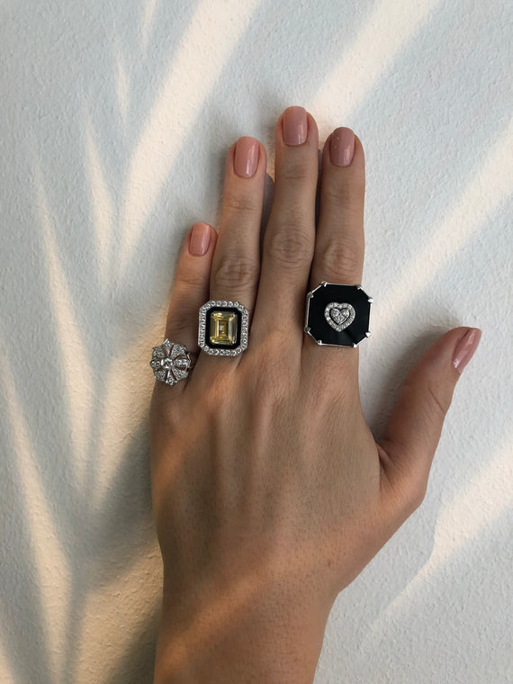 DEEP SPACE ONYX SQUARE DIAMOND HEART RING