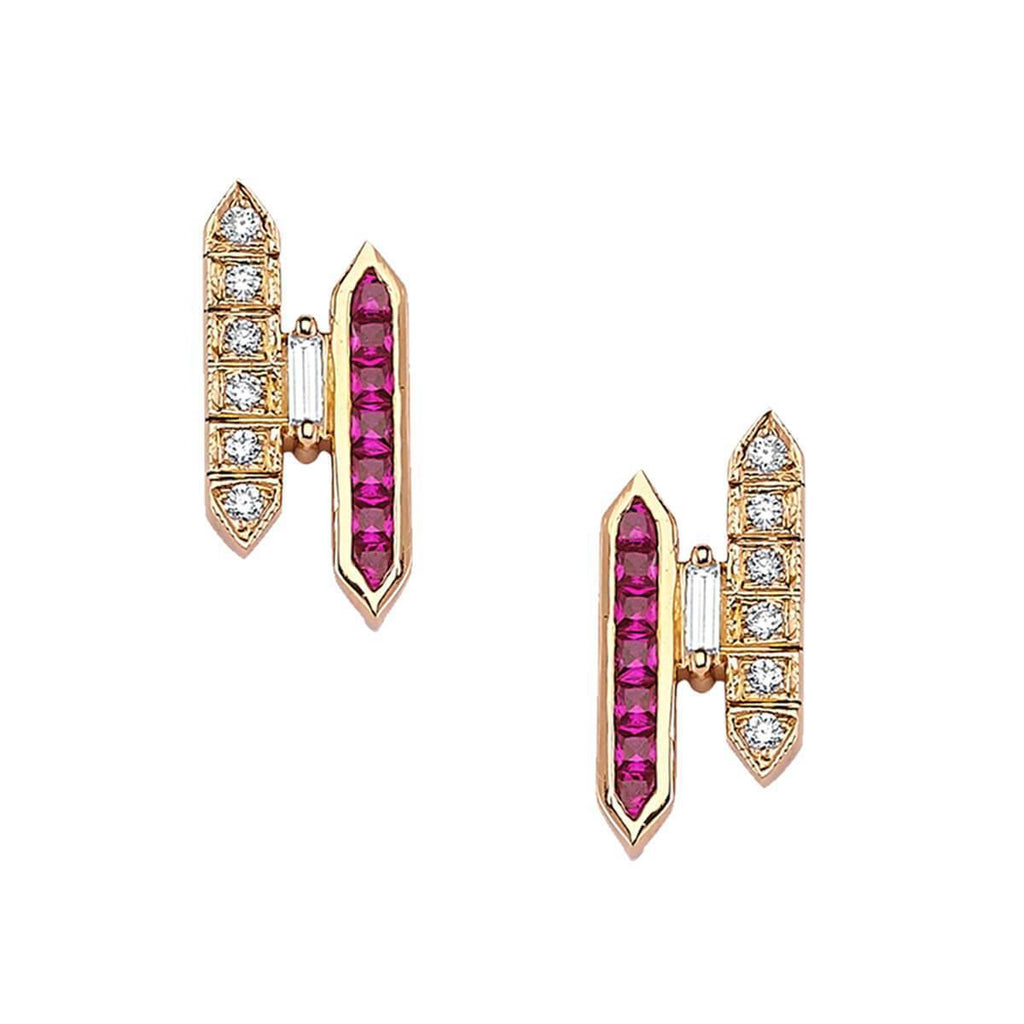 LOVE RUBY & DIAMOND EARRINGS