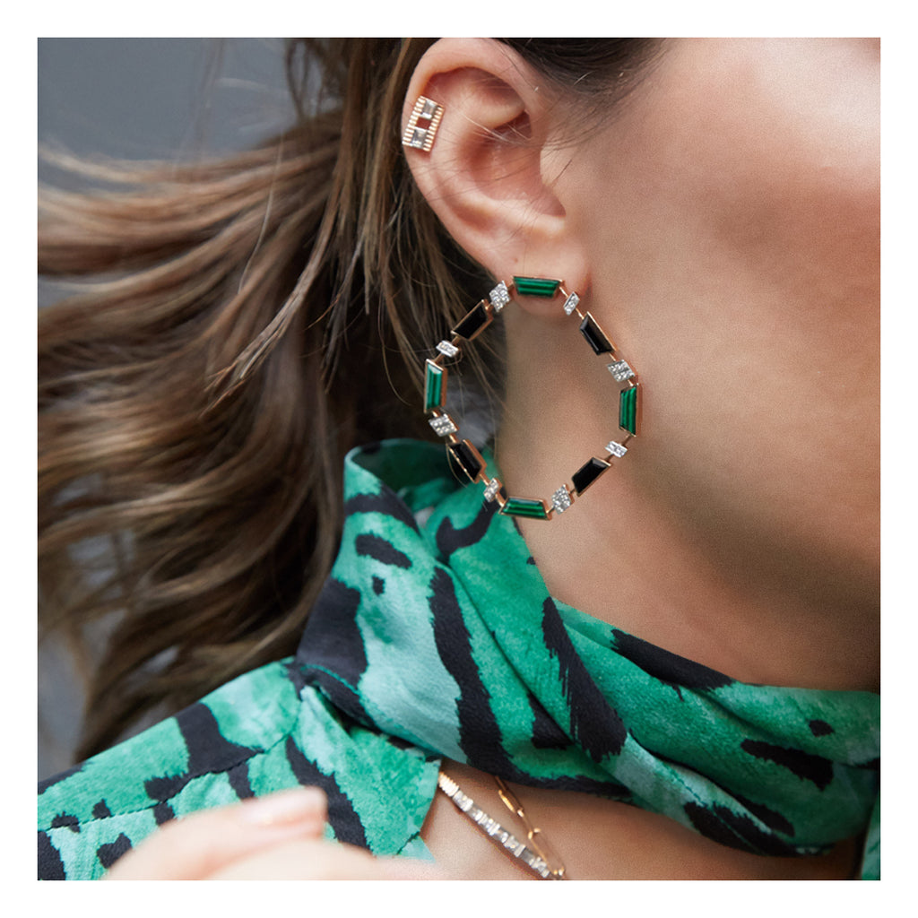 DEEP SPACE MALACHITE & ONYX EARRINGS