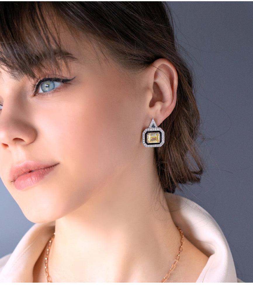 LUNA LUCE RECTANGLE YELLOW TOPAZ EARRINGS