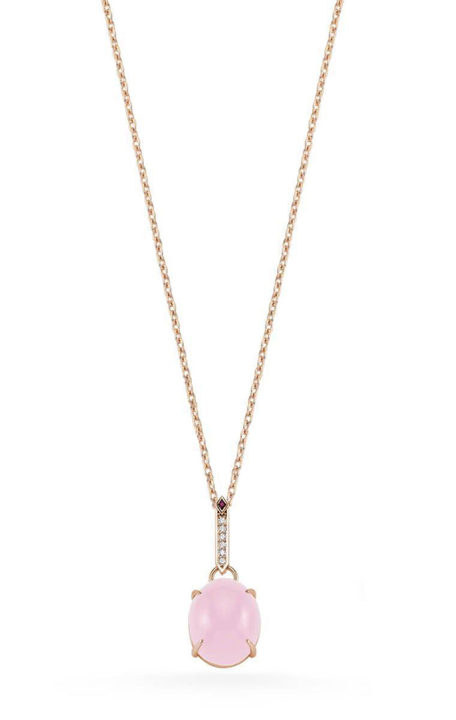 SKY DIAMOND RUBY ROSE QUARTZ NECKLACE