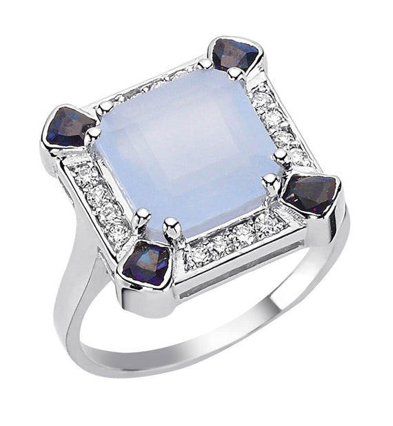 SKY SQUARE FROSTED BLUE MOON SAPPHIRE & DIAMOND RING