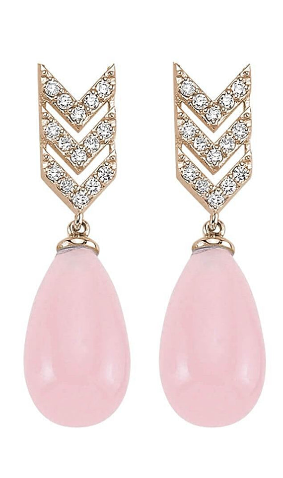 SKY SM ROSE QUARTZ DIAMOND TEAR DROP EARINGS