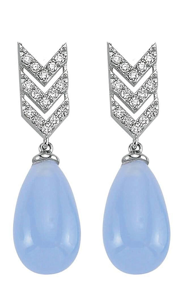 SKY SM BLUE MOON DIAMOND TEAR DROP EARINGS (LONG)