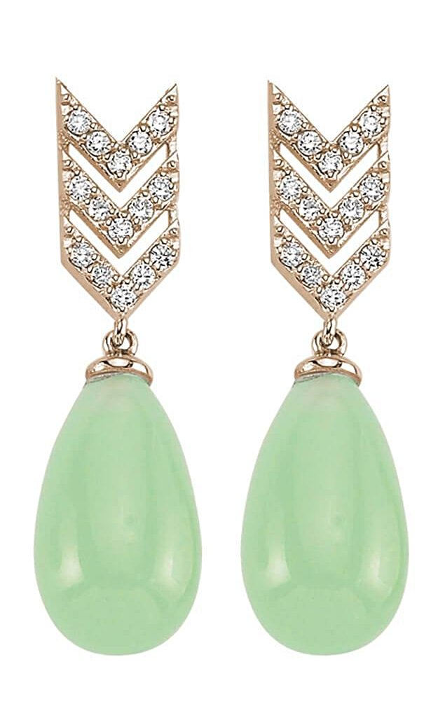 SKY SM GREEN QUARTZ DIAMOND TEAR DROP EARINGS (LONG)