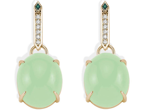 SKY DIAMOND EMERALD GREEN QUARTZ EARRINGS