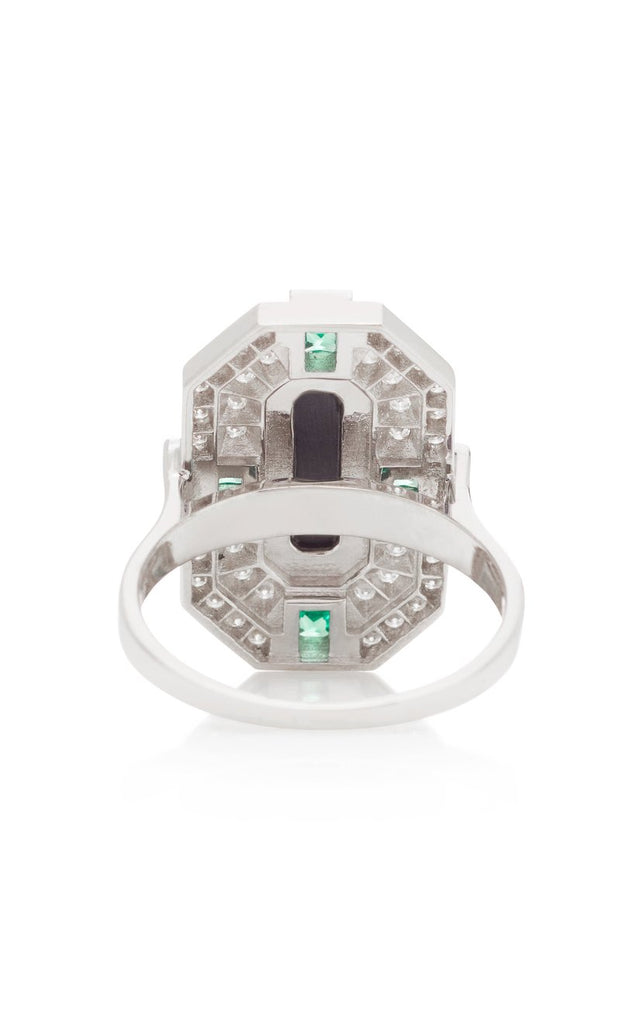 DEEP SPACE ONYX AND TSAVORITE  RING