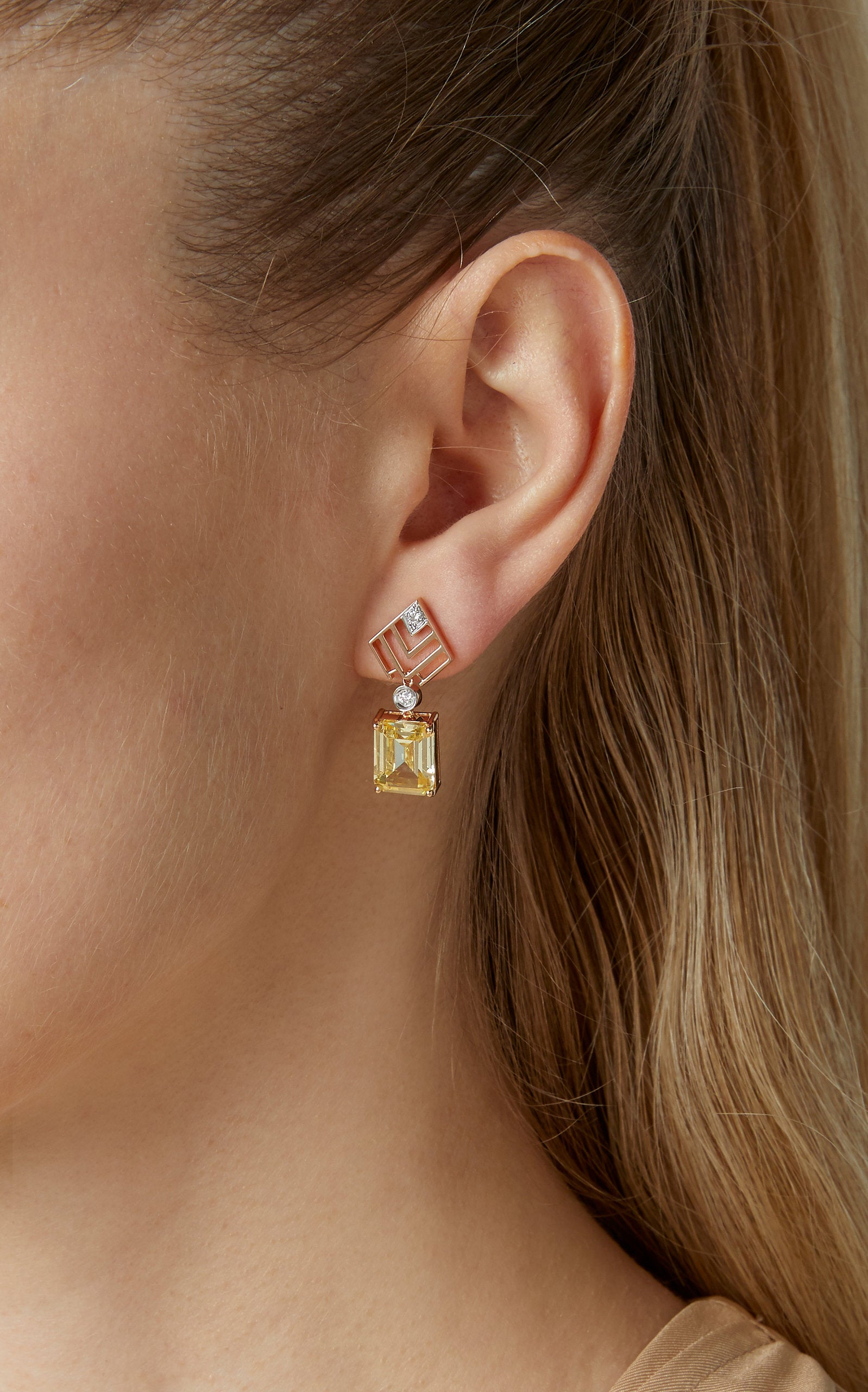 GEOMETRIA DIAMOND & YELLOW TOPAZ DIAMOND EARRINGS