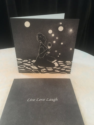 10 doble kunstkort med motivet LIVE LOVE LAUGH