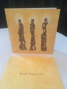 "10 doble kunstkort med ""Faith Hope Love"" som motiv."