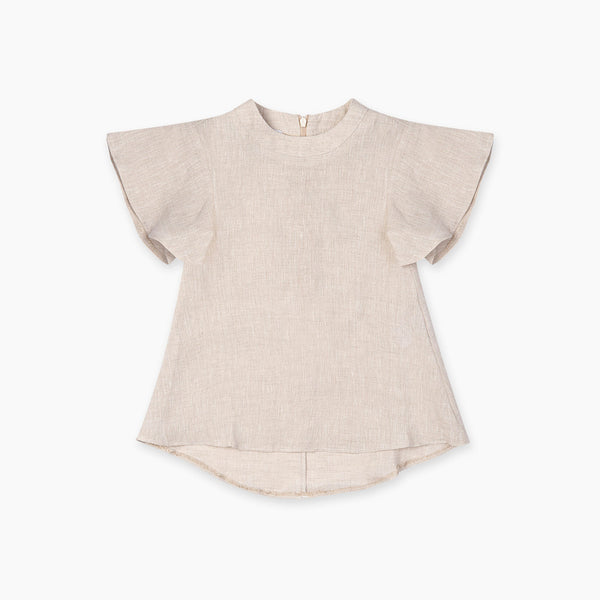 The Natty Flounce-Sleeved Dress - Beige