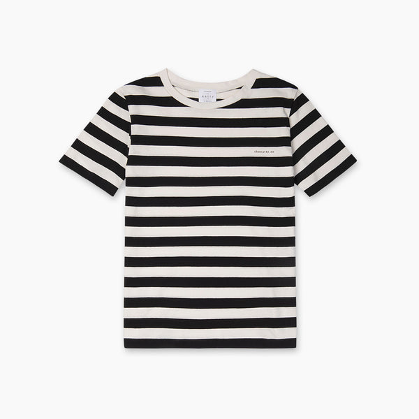 The Natty Thick Stripes T-Shirt with Logo - Black and White