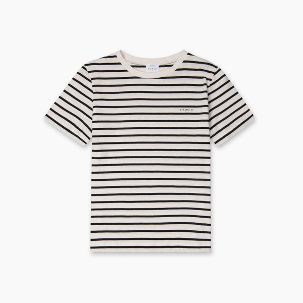 THE NATTY Thin Stripes T-Shirt with Logo - Black and White