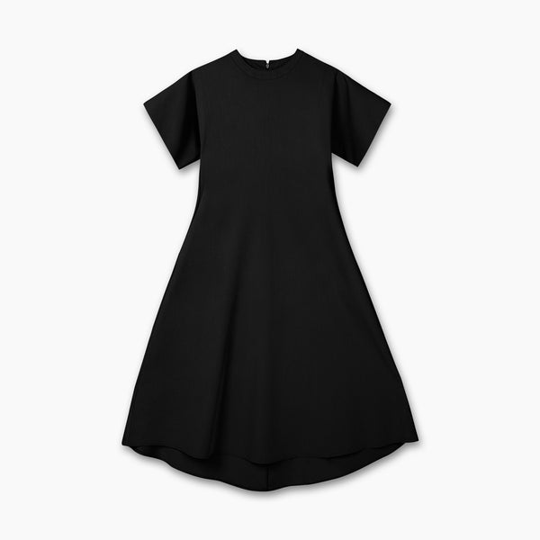 THE NATTY Short-Sleeved Long Dress - Black