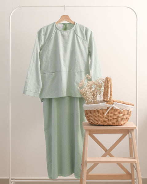 Khayla Pocket Kurung - Mint Green