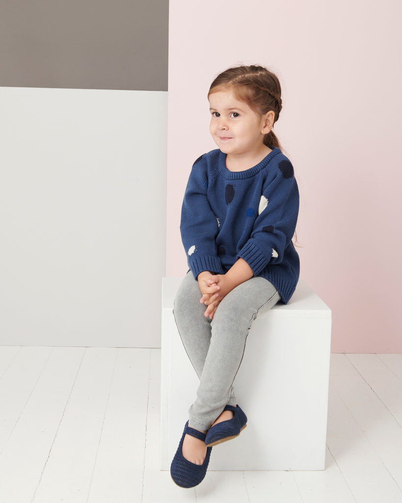 THE NATTY Kids Blue Chunky Knitted Jumper