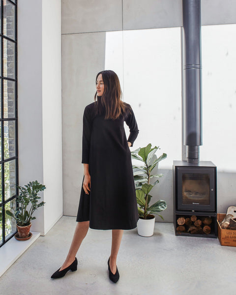 THE NATTY Long-Sleeved Long Dress - Black