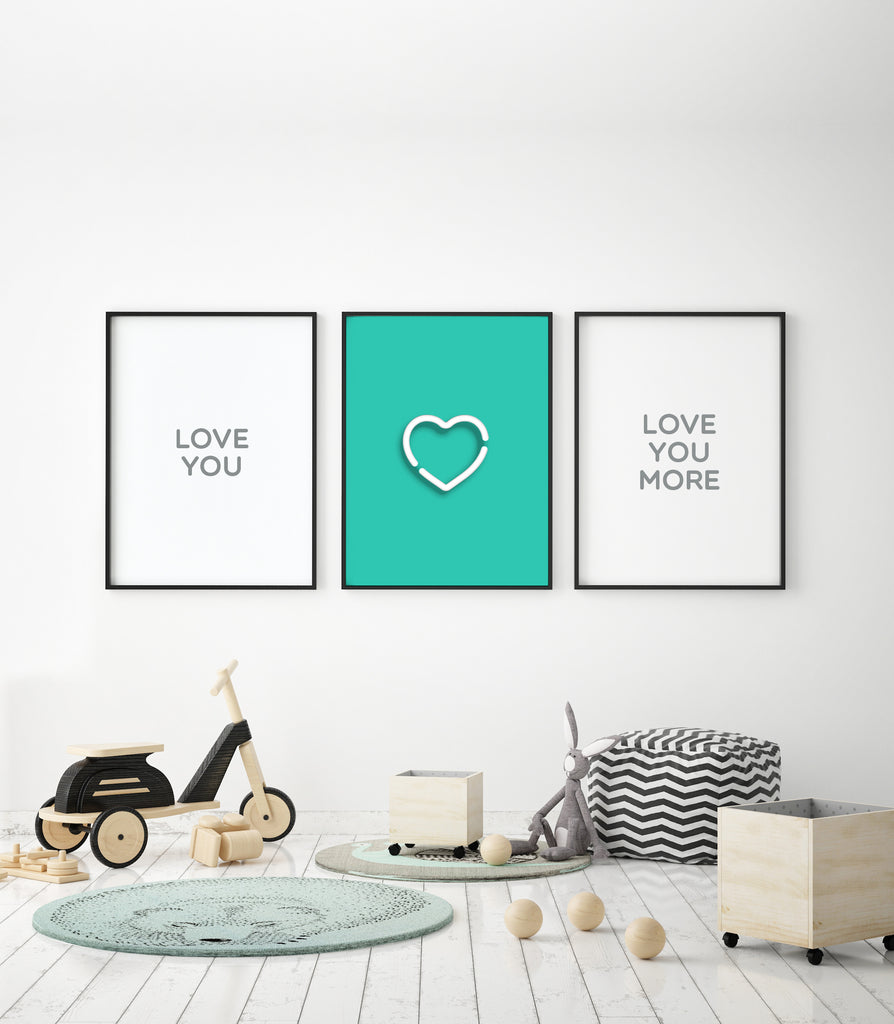 Neon Turquoise Heart Print - The Urban Nursery
