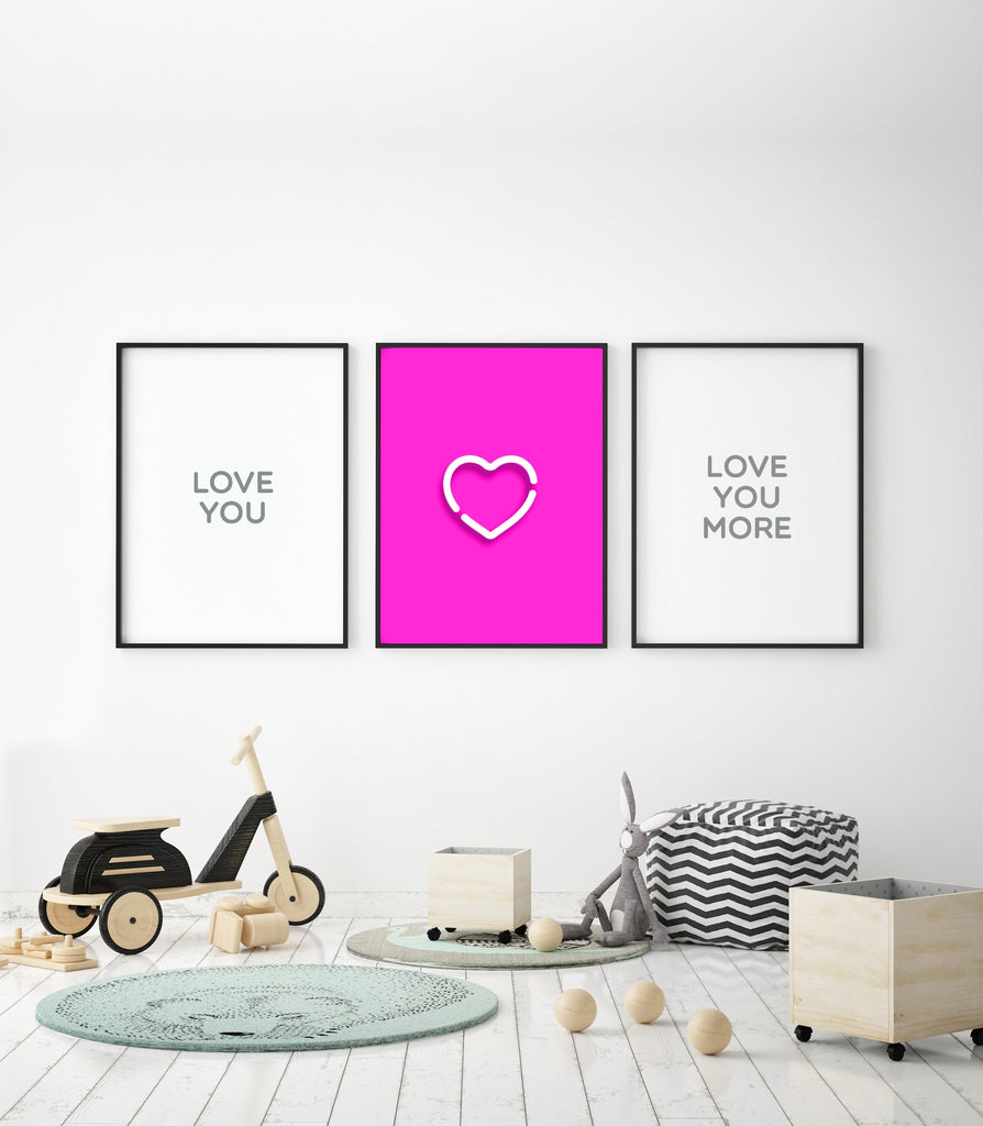 Neon Pink Heart Print - The Urban Nursery