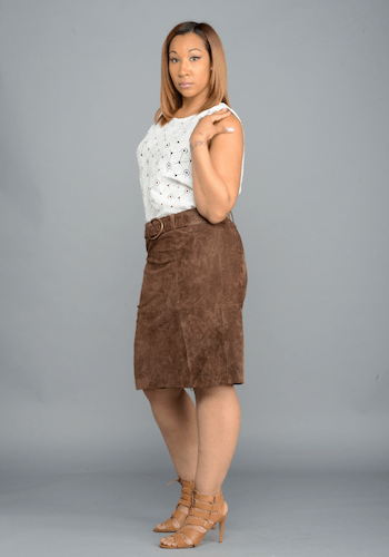 Belted Chocolate Suede Skirt